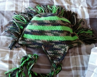 Camo and lime mohawk hat!