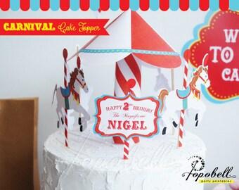 Circus Cake Topper for Circus Birthday Party. Carousel Cake Topper for Carnival Birthday. DIY Circus Centerpiece PRINTABLES for Circus Party