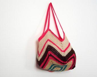 gipsy crochet tote for friend's birthday gift - summer cotton bag - light carry-on - multicolored beach sack - hanukkah gift idea for women