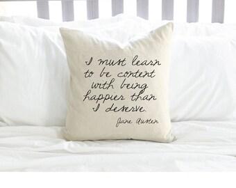 Jane Austen Quote Pillow