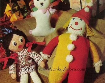 Vintage Knit Toys Pattern PDF 516 from ToyPatternLand by WonkyZebra