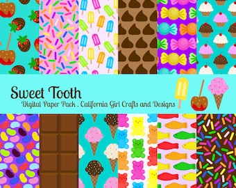 Sweet Tooth Digital Paper Pack - Candy and Sweets - 12 by 12 inches original  instant digital download - Ice cream, gummy bears, candy apple