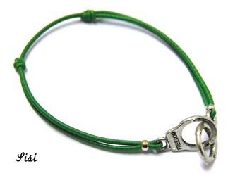 Silver cuff bracelet green cord
