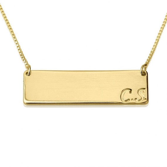 gold bar necklace engraved initial horizontal bar by onecklace