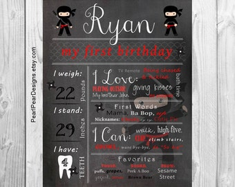 Ninja black belt Chalkboard Poster Sign: Year Girl / Boy First Birthday Chalkboard Stat digital file prop/decor
