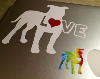 TWO COLOR pitbull with a red heart vinyl sticker proceeds Mac's Fund