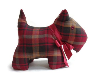 Handmade Scottie Dog Doorstop / Bookend in Red Tartan Made to order by Freda's Barn