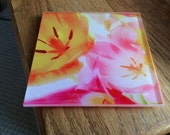 Wonderful set of glass coasters with colorful tulip design!!!