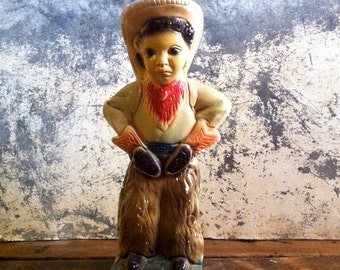 vintage chalkware / chalkware cowgirl / southwestern decor / kitsch collectable / cowboy collectable