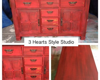 Red Collection- Buffet, Credenza, Sideboard, Media Console, Dresser, Painted Furniture Denver and Colorado Springs, Farmhouse, Rustic