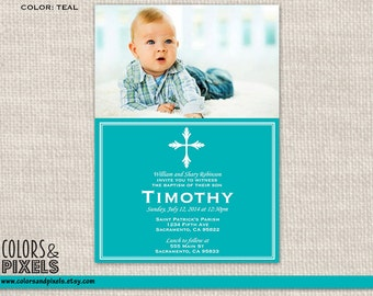 Cross Baptism Invitation, Christening Photo Invite, First Communion DIY Printable Invitation, Invitacion para Bautizo o Primera Communion