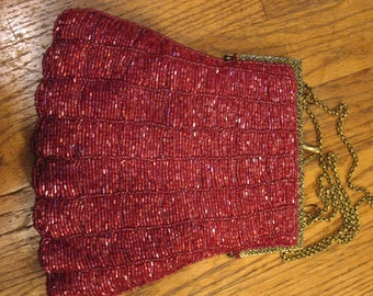 Vintage Red Beaded Purse