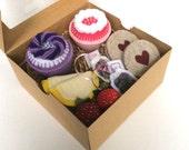 Felt Food: Valentine's Day Felt Cupcake Tea Set -- 2 felt cupcakes, cookies, tea bags for Valentine's Day gift for girls, tea set, tea party