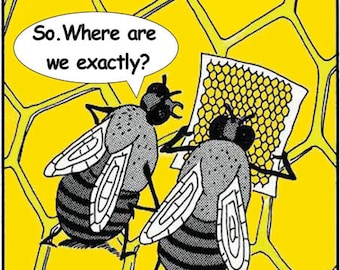 Lost Bees Cartoon Fridge Magnet 7cm by 4.5cm,