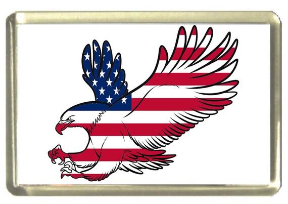 American Eagle Flag Fridge Magnet 7cm by 4.5cm,