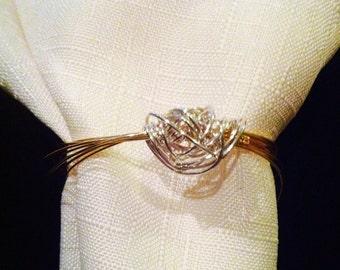 Set of 4 - Silver & Gold Elegant Napkin Rings