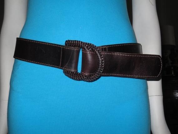 vintage womens wide danier brown leather belt size m