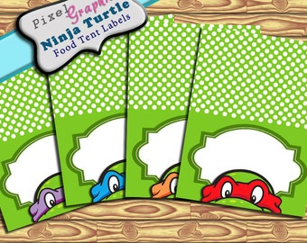 Ninja Turtle  Printable Food Tent Label Cards Editable Text Instant Download