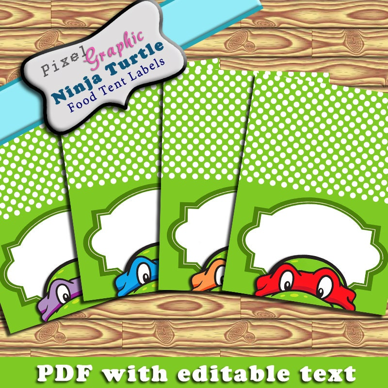 Ninja Turtle Printable Food Tent Label Cards Editable Text Instant Download  sc 1 st  Etsy Studio & Ninja Turtle Printable Food Tent Label Cards Editable Text Instant ...