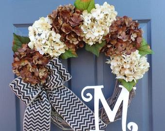 Fall wreath - Hydrangea wreath - Rustic wreath - Personalized wreath - Chevron Burlap Wreath