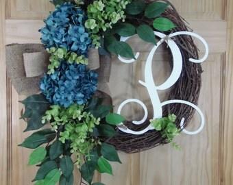Spring wreath - blue hydrangea - summer wreath - monogram wreath - mothers day - wedding - housewarming - hydrangea wreath