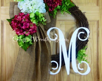 spring wreath - hydrangea wreath - monogram wreath - wreaths - mothers day - easter wreath - summer wreath