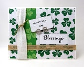 St. Patrick's Day Card - St. Patrick's Day Blessings - Green and White - St. Patrick's Day - Shamrocks - Blank Card - Rustic Style - Irish