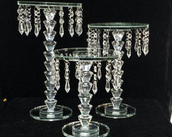 Crystal Beaded Glass Cake Stands Set of 3 cake, stand glass, cake stands, clear cake stands