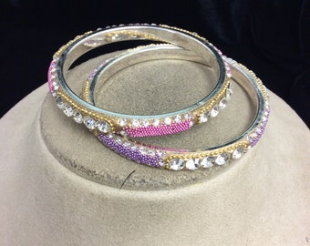 Vintage Lot Of 2 Pink & Purple Rhinestone Bangle Bracelets