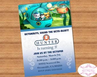 8 qty OCTONAUTS Invitation, Printed or Digital File 5x7
