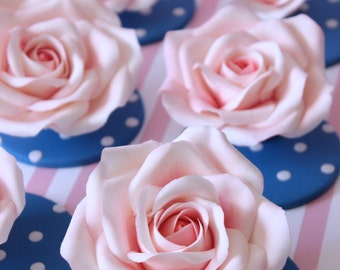 Set of roses cupcake toppers