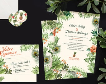 Tropical jungle, exotic personalised wedding invitation.