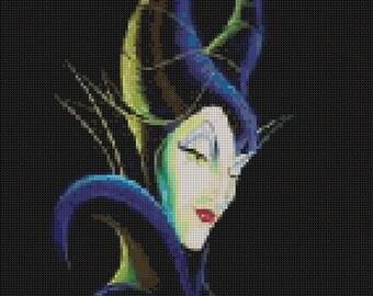 Maleficent Head Cross Stitch Pattern
