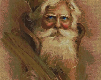 Old World Santa Cross Stitch Pattern-Victorian
