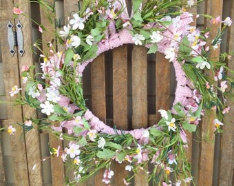 Spring Wreath,Flower Wreath,Wildflower Wreath, Shabby Wreath,  Rag  Wreath, Spring Decor,  Door Wreath or Wall Wreath - Pink Gingham