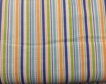 "Flannel 100% cotton by the yard Riley Blake/Alpine Fabrics ""Geared Up"" in orange stripes"