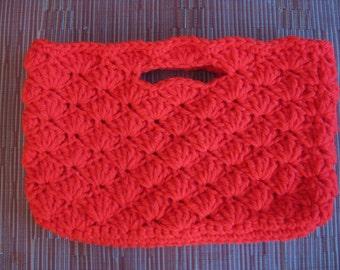 Crocheted Shell Stitch Clutch/handbag - made with rare vintage yarn