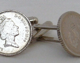 Boxed Pair Vintage British 1994 Five Pence Penny Coin Cufflinks Wedding Birthday Anniversary