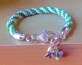 Green & White Braided Awareness Bracelet-Kumihimo-Friendship Rope Bracelet-Cystic Fibrosis-Celiac-Lyme-Non-Hodgkin Lymphomia-
