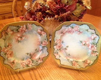 Stunning Pair of Antique LePitre' Lemoges Plates