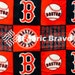MLB Boston Red Sox Squares Pill Fleece Fabric, 60 Inches Wide and Sold By The Yard