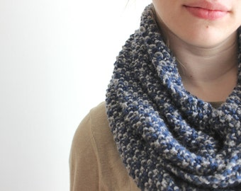 Blue and Grey Stripe Cowl Scarf
