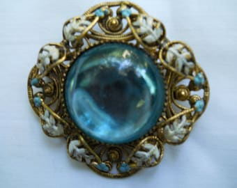 Enameled filigree brooch with blue enamel adornment-attractive vintage   enameled pin-wonderful blue color -pretty blue and white enameling