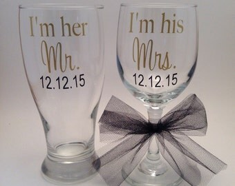 I'm her Mr I'm his Mrs Pilsner and Wine Glass set, Wedding gift, Engagement Gift, Husband Wife Gift
