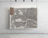 "58"" x 38"" - Vintage Map, Large Print of Pocket Map of London"