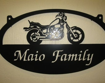 Personalized Metal Sign with MOTERCYCLE and custom name