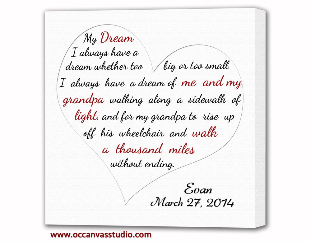 Christmas Gift Song Lyrics Canvas Print. Heart Shaped First