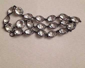 """Gorgeous Antique Deco silver metal choker with 20 app. 12mm round faceted lead crystals bezel set, 14.25"""""""
