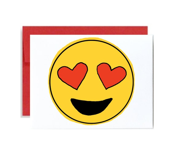 Heart eyes emoji valentines day card - red yellow iphone cute simple emoticon heart love general love galentines day
