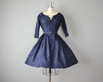 50s Dress // 1950s Navy Silk Taffeta Party Dress by Richard Cole // Small